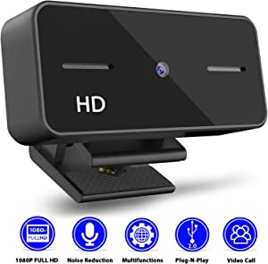 Webcam with Microphone,URXTRAL 1080P HD Webcam Computer Live Streaming Web Cam USB Web Camera for Computer PC Laptop or Desktop Webcam,USB Webcam for Video Calling Recording Conferencing,Plug-N-Play
