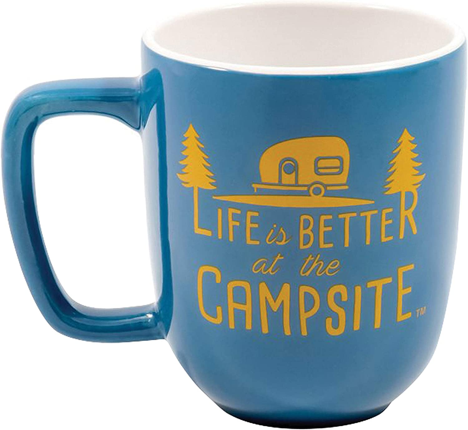 """Camco """"Life is Better at The Campsite"""" Ceramic Coffee Mug - Great for Use While Camping and Outdoors. Microwave and Dishwasher Safe (Blue/Yellow, 12 oz.)"""