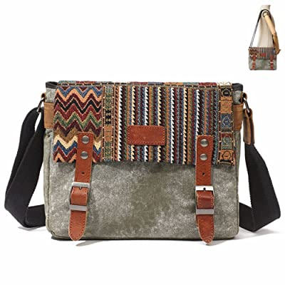 Mother's Day Gifts Deal-Valentoria Women's Men's Canvas Bag Vintage Retro Shoulder Bags Cross-Body Bags Waterproof Durable Cloth Bag Schoolbag Shopping Bag Luggage Carry-All Organiser (Army Green) 60%OFF