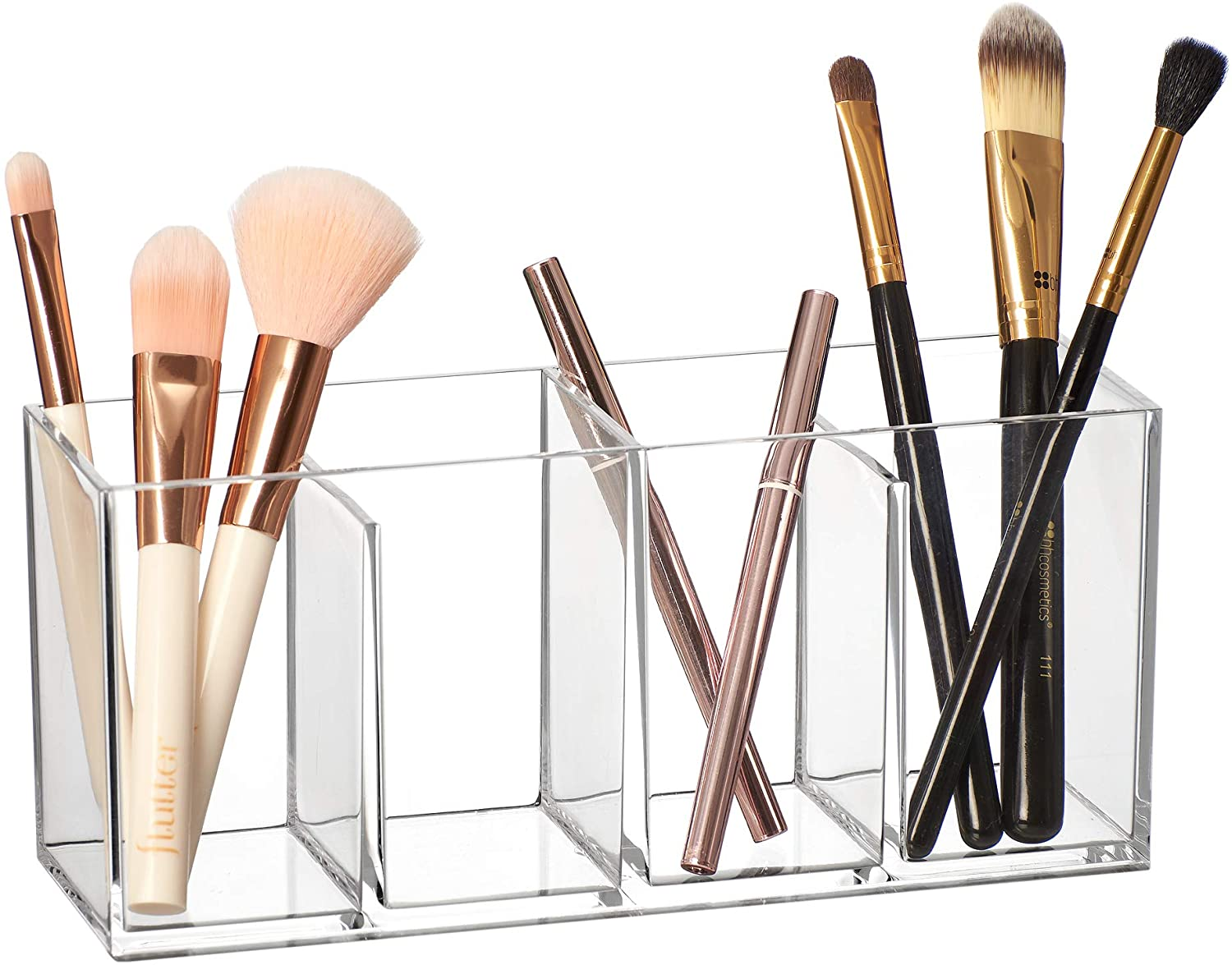 Amazing Abby - Glamour - Acrylic 4-Compartment Makeup Organizer, Transparent Plastic Makeup Brush Holder, Perfect Bathroom Vanity Storage Solution for Makeup Brushes, Eyebrow Pencils, and More