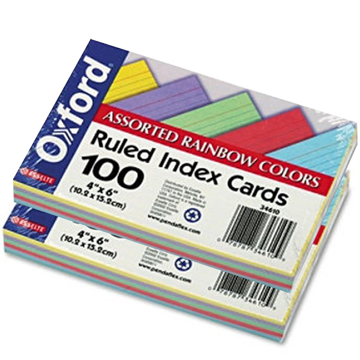 Recycled Oxford Color-Pack Index Cards, Ruled, 4''x6'', 20 Each 5 Colors ESS34610, 2 Pack of 100 Cards