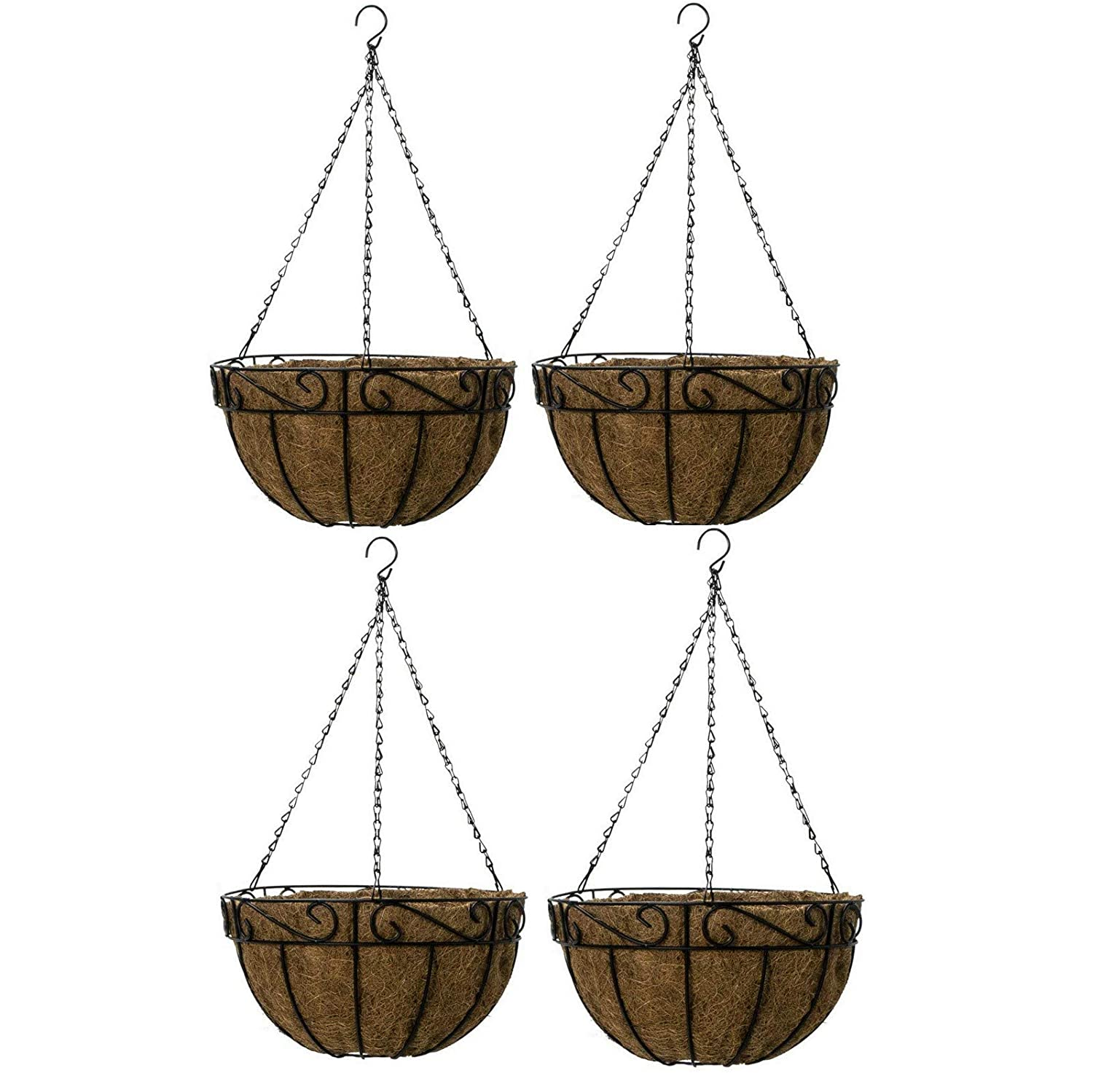 Ashman 4 Pack Metal Hanging Planter Basket with Coco Coir Liner Round Wire Plant Holder Chain Porch Decor Flower Pots Hanger Garden Decoration Indoor Outdoor Watering Hanging Baskets