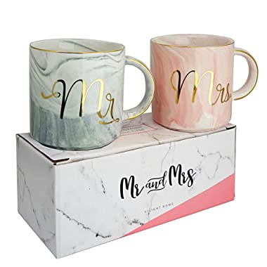 Vilight Mr Mrs Coffee Mugs Set - Gift for Bridal Shower Engagement Wedding and Married Couples Anniversary - Ceramic Marble Cups 11.5 oz