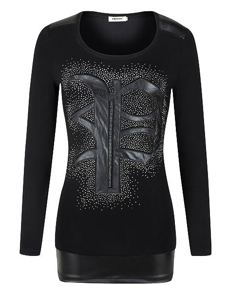 478ba0fd560 cmz2005 Women Long Sleeve O-Neck Leather Tops Cotton Casual Blouse 69210
