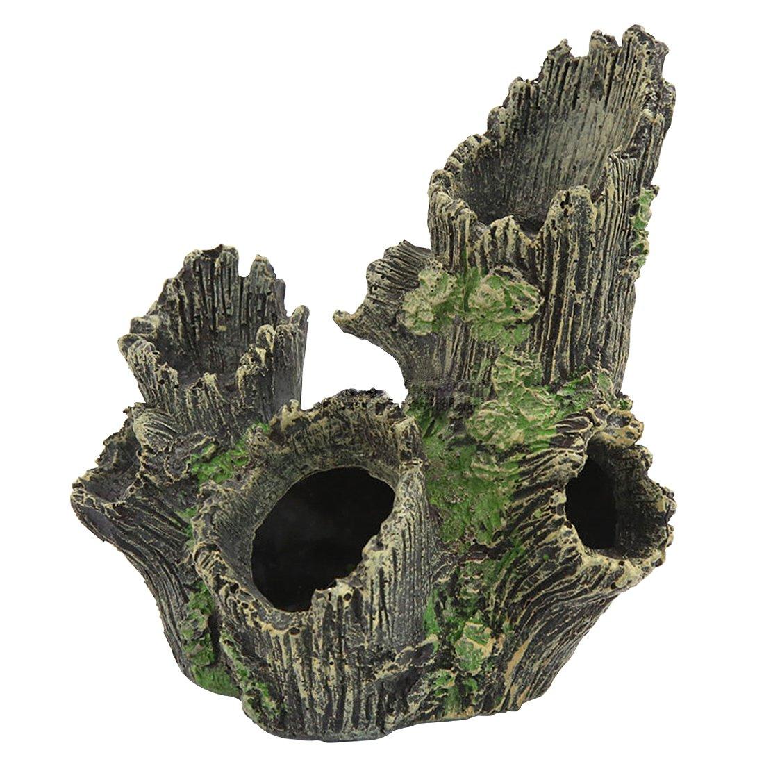 Petforu Reptile Hideouts, Tree Hole Pet Habitat Décor Hide Cave Aquarium Décor Ornaments