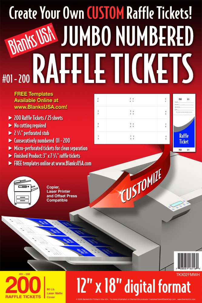 Amazon.Com : Blanks/Usa Pre-Cut Jumbo Numbered Raffle Tickets