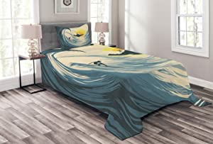 Ambesonne Ocean Bedspread, Illustration of Cloudy Sky Tropical Island Wave and Surfer at Sunset Seascape, Decorative Quilted 2 Piece Coverlet Set with Pillow Sham, Twin Size, Beige Yellow