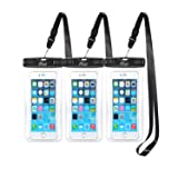 AiRunTech Waterproof Case(3-Pack), Waterproof Cell Phone Dry Bag for iPhone Xs/XS Max/XR/X, iPhone 8/8 Plus/7/7 Plus/6/6s, Samsung Galaxy S9/S8/S7 Google Pixel and All Devices Up to 6.6 Inches (Color: 3 Clear Case)