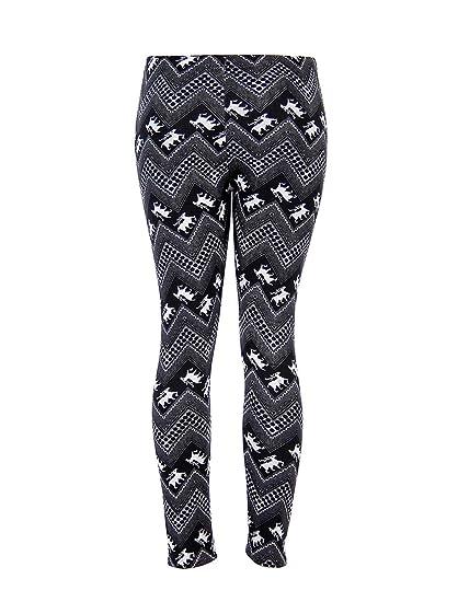 04282a26595bc7 Womens Christmas Warm Leggings Snowflake Reindeer Print Tights High Waist  Stretchy Long Pants (Black Reindeer