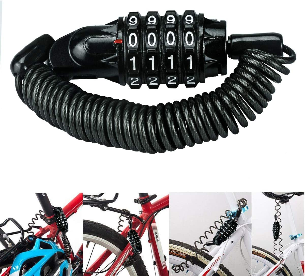Cycle Heavy Duty Coil Combination Security Lock  Spiral Cable Bicycle Lock