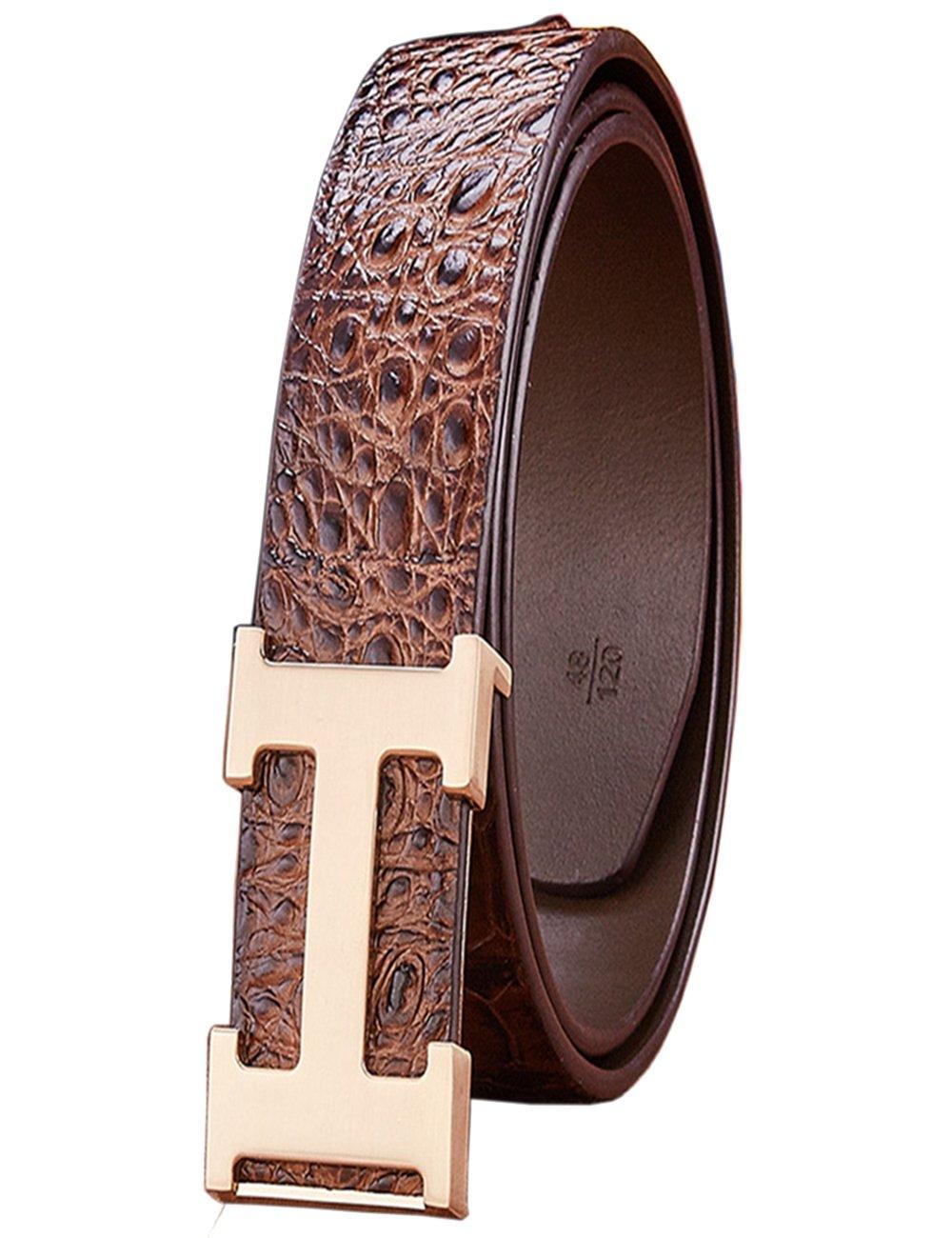 Menschwear Men's Geniune Leather Adjustable Belt with Slide Metal Buckle 38mm Brown