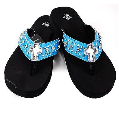 dfa69c8166d80 Women Western Rhinestone Bling Cross Flip Flops Sandals (S(6)