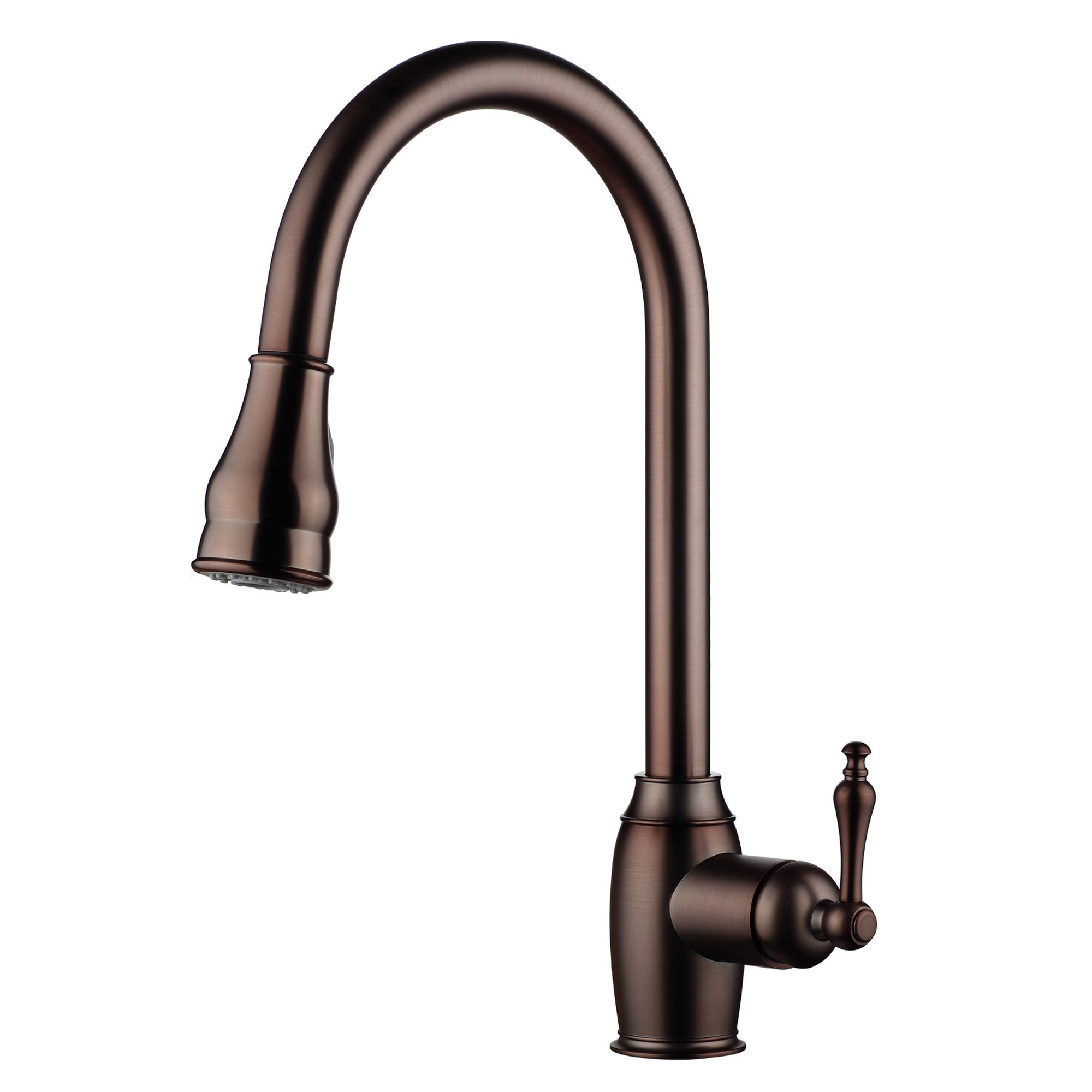 Bronze;1-hole Brass Pull-down Kitchen Sink Faucet with 360 Degree Magnetic Sprayer; 1- handle Kitchen Faucet; Excellent Finish, Nylon Hose, and Docking System