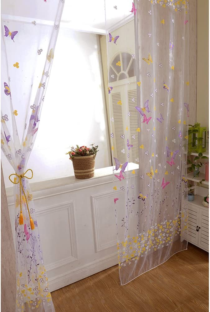 Schmetterling T/ür Fenster Dekoschal Blumen Muster Gardine f/ür Wohnzimmer Schalfzimmer Gr/ö/ße 100 x 270 cm VORCOOL Transaprente Voile Vorh/änge Rose Rot