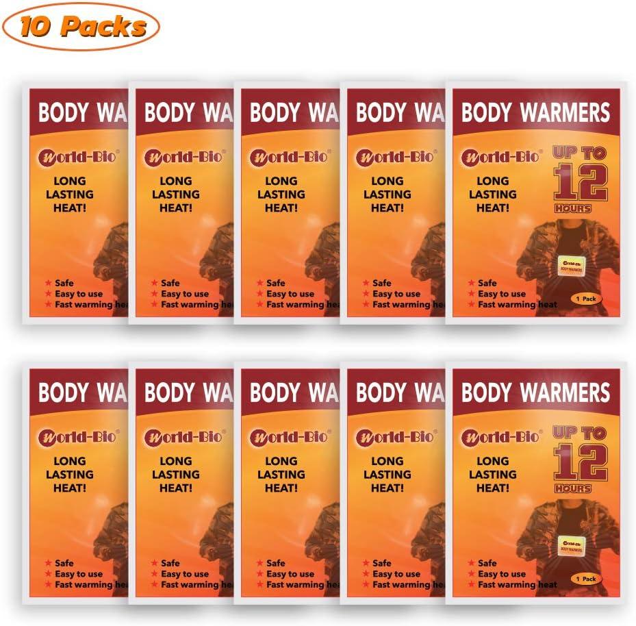WORLD-BIO Calentadores corporales Calentadores de pies Plantillas Calentadores de pies y pies Calentadores de Manos Calientes.Autoadhesiva hasta 8 Horas Almohadillas térmicas de Larga duración