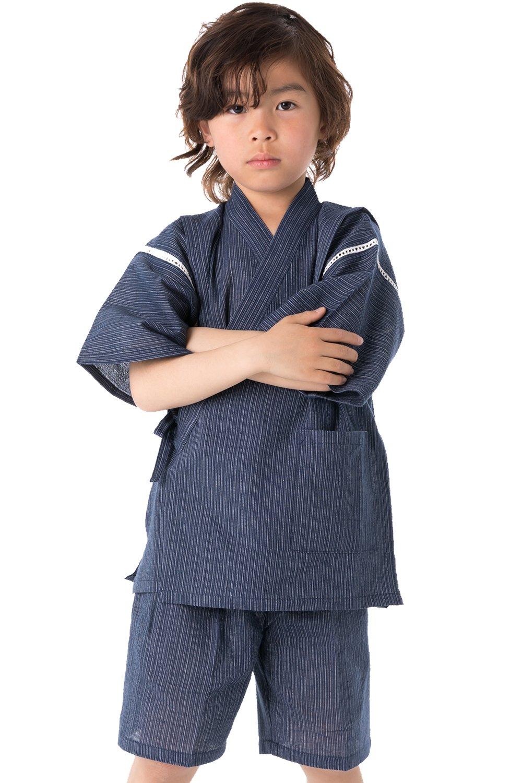 KYOETSU Boy's Japanese Jinbei Kimono Shijira Stripe (10 (140), Thin stripe/Navy)