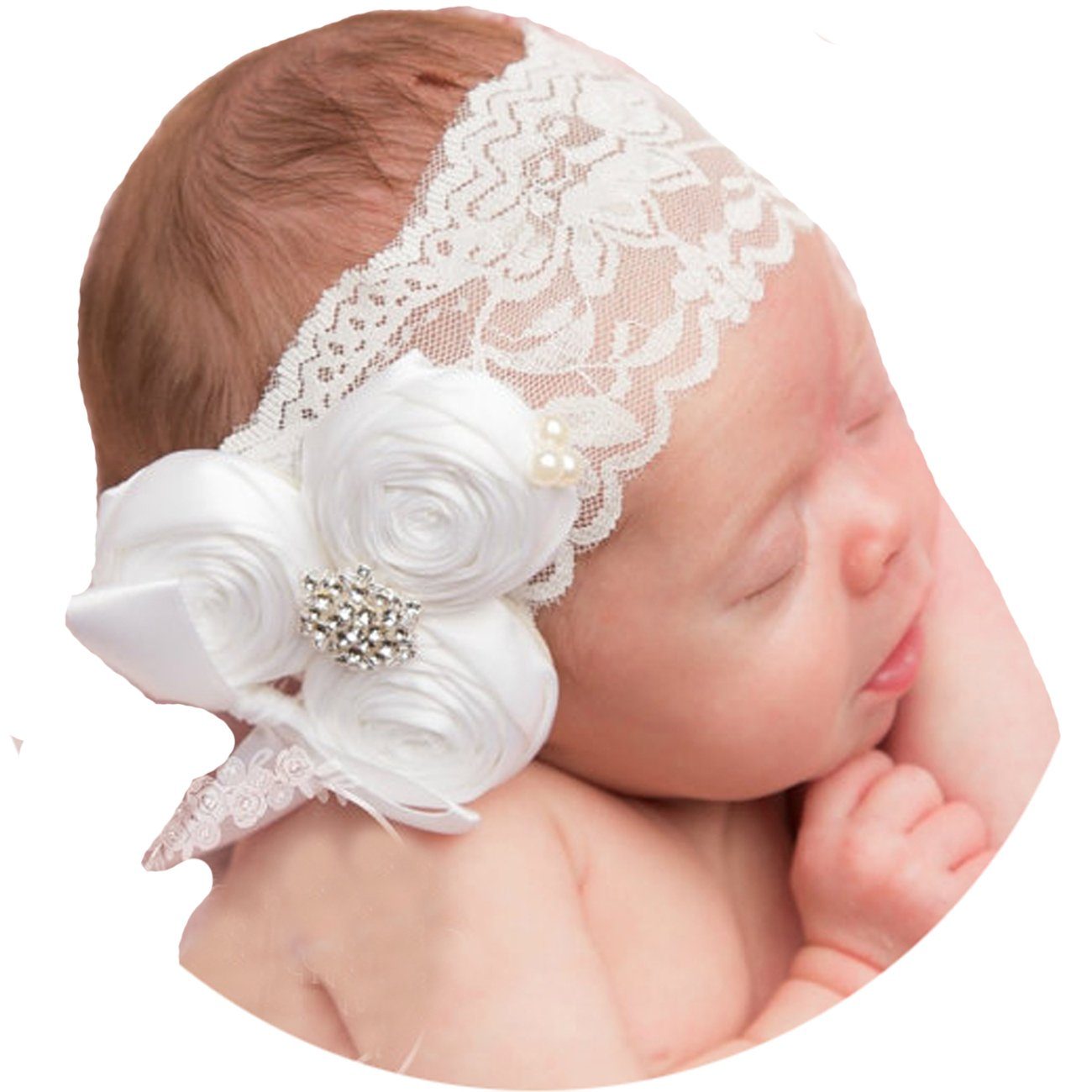 Amazon.com  Miugle Baby Baptism Headbands Baby Girl Christening Headband  with Bows  Baby f3d54dcebf3