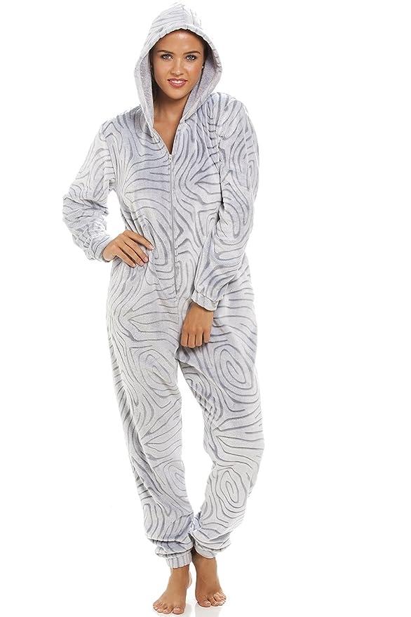 Camille - Pijama de una pieza para mujer - Forro polar supersuave - Estampado de cebra - Gris 36/38: Amazon.es: Ropa y accesorios