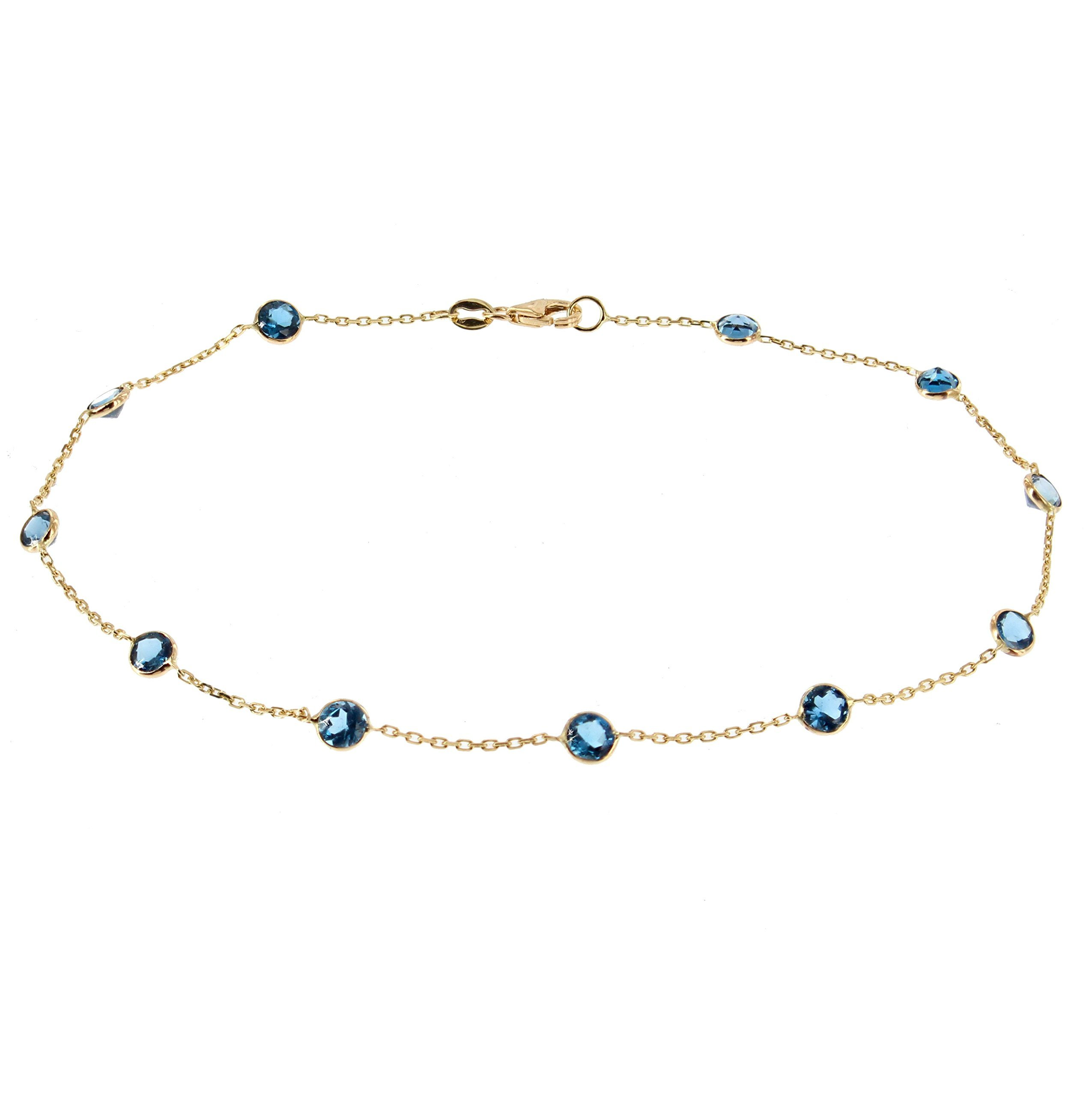 14k Yellow Gold Handmade Station Anklet With London Blue Topaz Gemstones 9 - 11 Inches by amazinite