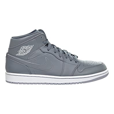 Nike Air Jordan 1 Mid Mens US Size 10 Grey White 554724 031