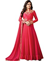 Drashti Dhami Women's Special Party Wear Pink Color Faux Georgette Embroidery Anarkali Semi Stitched Salwar Suit (Pink_Color_Free_Size)