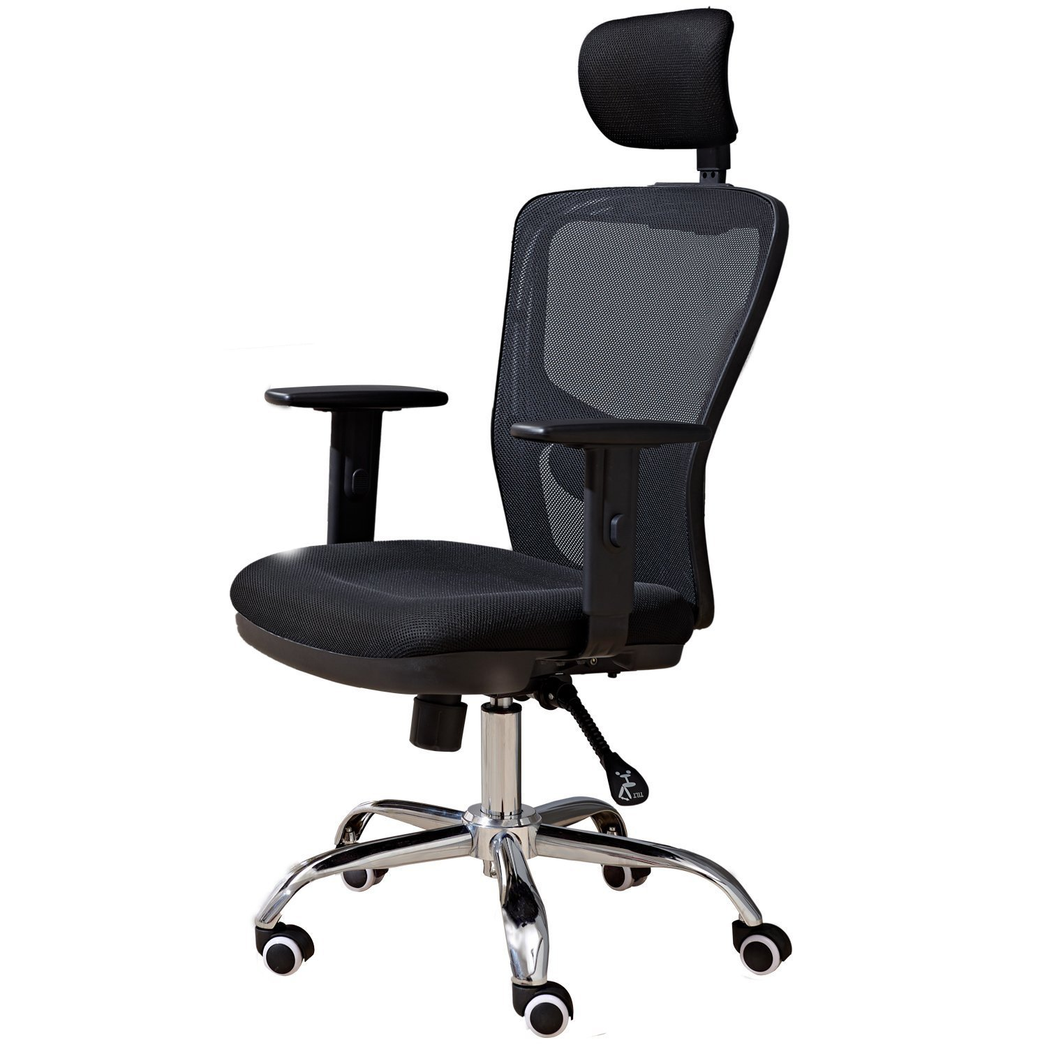 High Back Mesh Office Chair with Adjustable Headrest and Lumber Support (Black)
