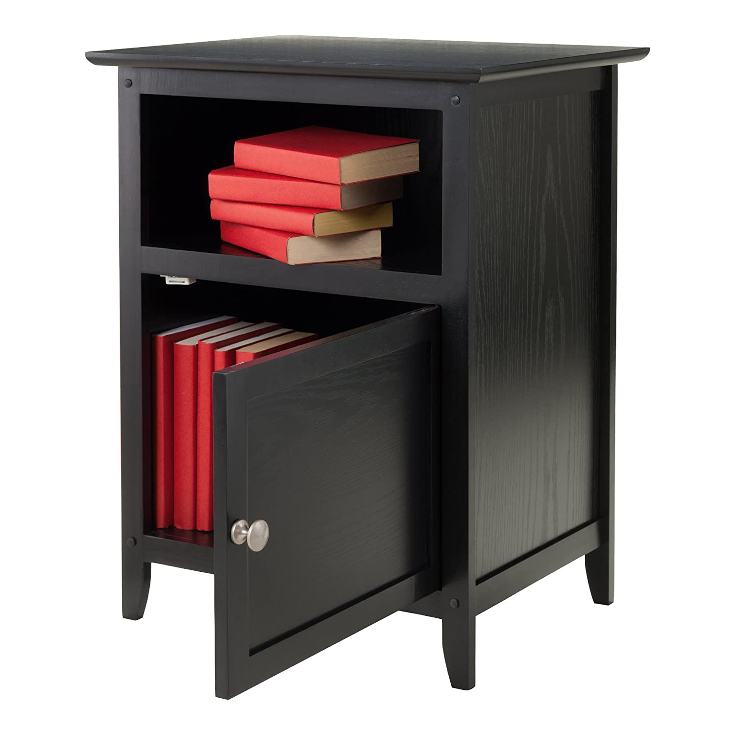Night Stand With Door And Shelf, Black:  Kitchen & Dining