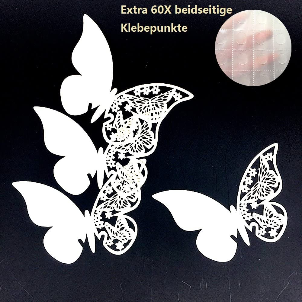 ElecMotive 50 Piezas Tarjeta de Copa Lugar Forma Mariposa Decoraci/ón para Fiesta Boda Pegatinas de Pared Azul