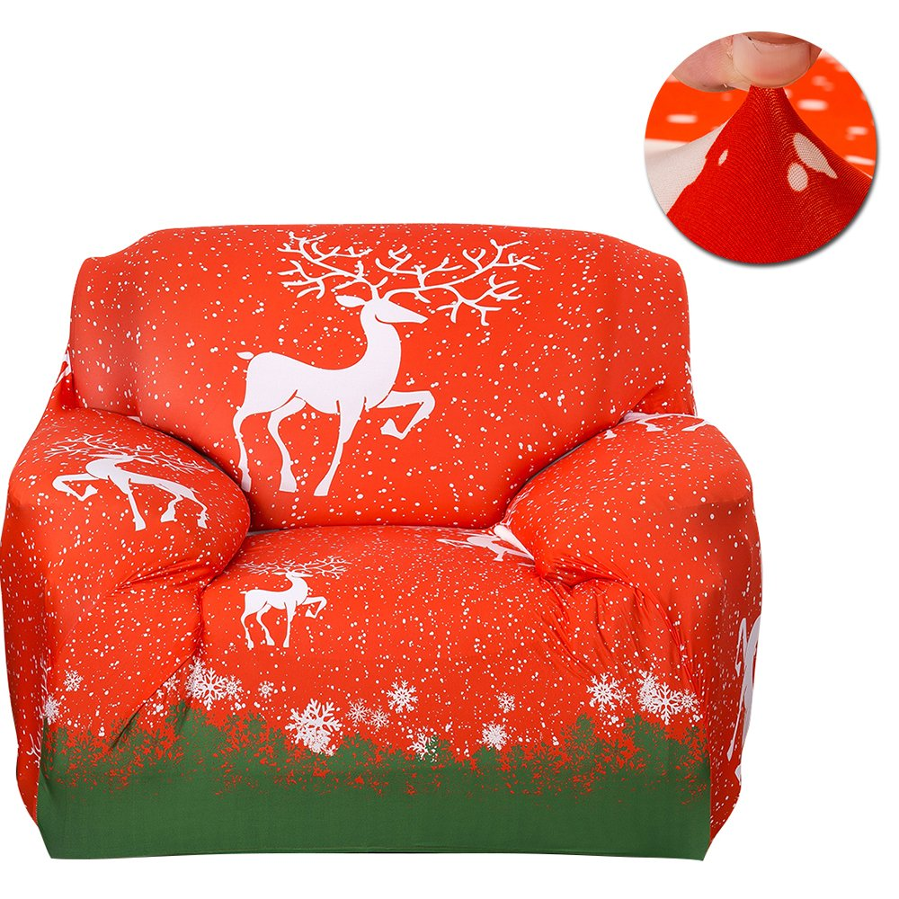 Scorpiuse Stretch Sofa Cover 1-Piece Polyester Spandex Fabric 3 Cushion Couch Slipcover (Chair, Christmas Reindeer)