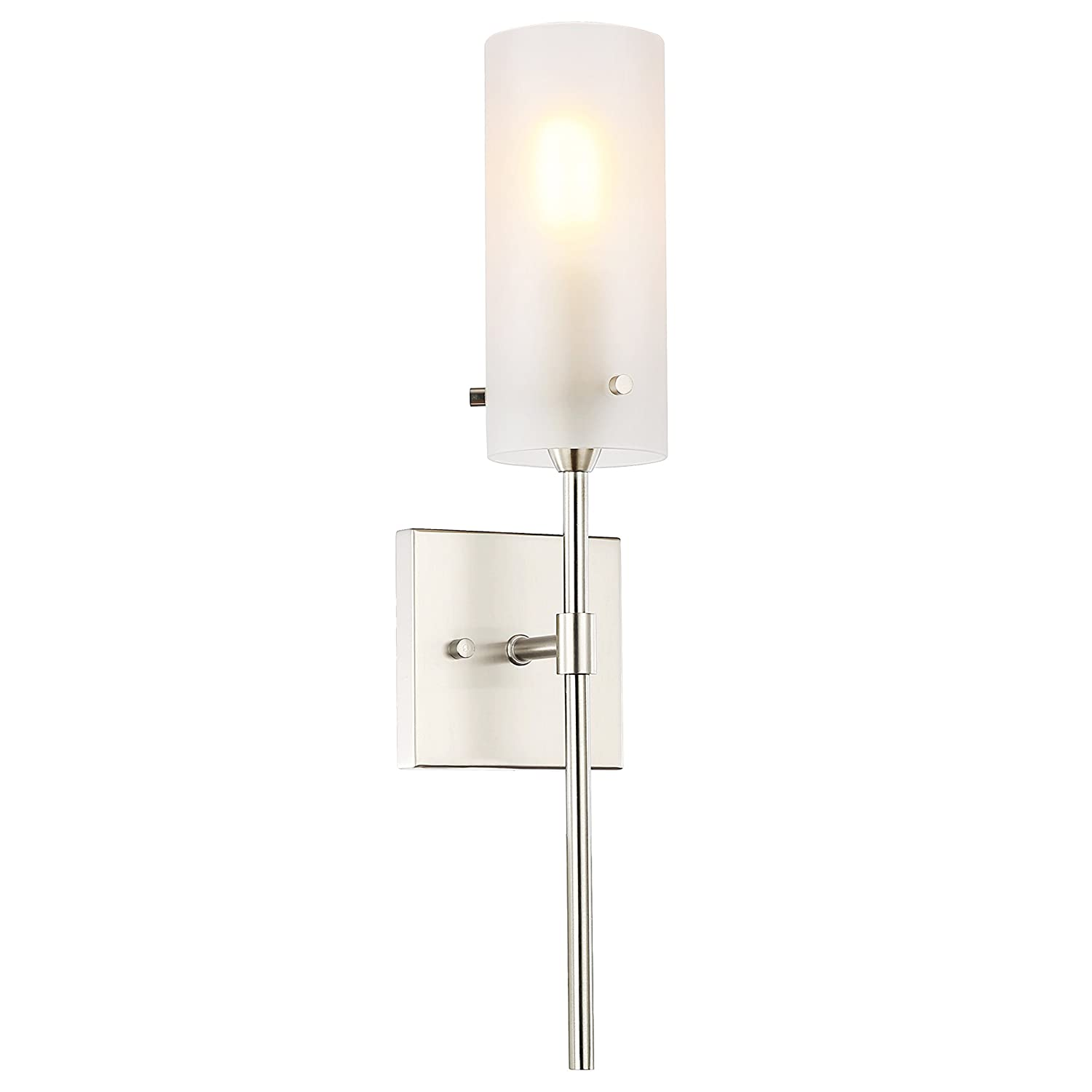 Light society montreal cylindrical wall sconce satin nickel with frosted glass shade contemporary minimalist modern lighting fixture ls w238 sn fr
