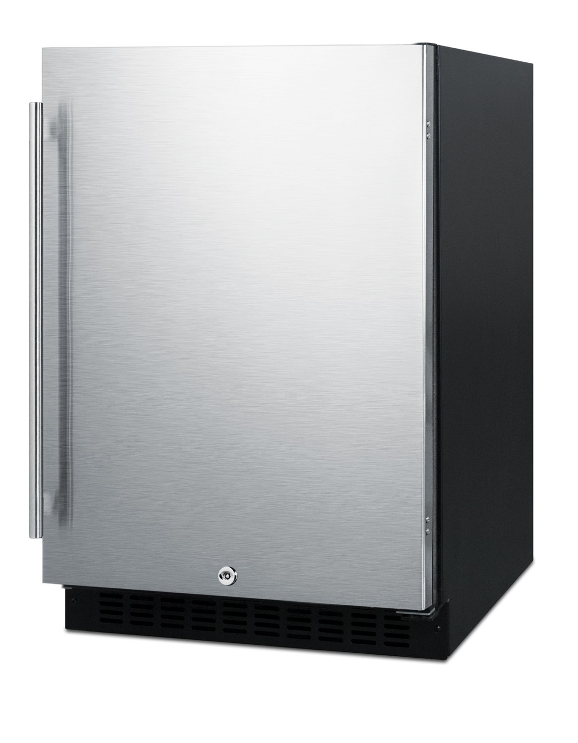 "Summit AL54 ADA Height 24"" Built-In Undercounter Refrigerator with Glass Shelves and Door Storage, Stainless Steel/Black"