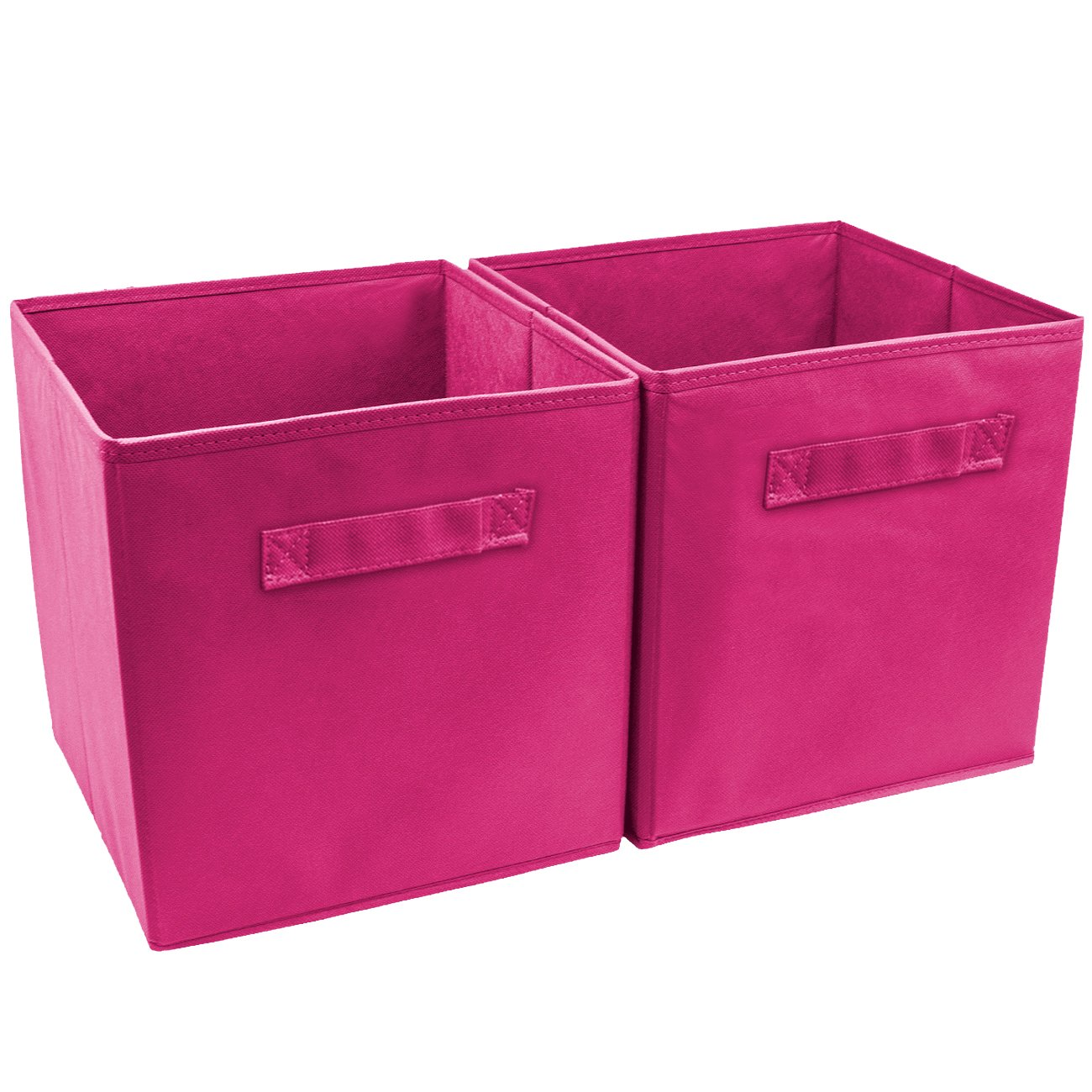 Marvelous Pink Storage Cube Basket 2 Pack Foldable Clothes Books Organizer Fabric Bins  2Pc