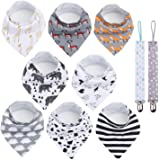 Conleke Baby Bandana Drool Bibs,Unisex 8 Packs Baby Bibs for Drooling and Teething,100% Organic Cotton,Soft and Absorbent,Hyp