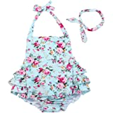 China Rose 50's Floral Ruffles Rompers Backless Dress Bathing Suit Swimwear