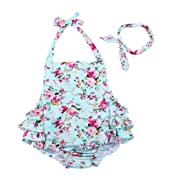 China Rose 50's Floral Ruffles Cotton Rompers Backless Dress Beach Wear (0-6 Month,Light Blue)