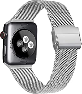 Meliya Compatible with Apple Watch Band 44mm 42mm 40mm 38mm, Stainless Steel Mesh Sport Wristband Compatible for iWatch Series SE 6 5 4 3 2 1 (38mm/40mm, Silver)