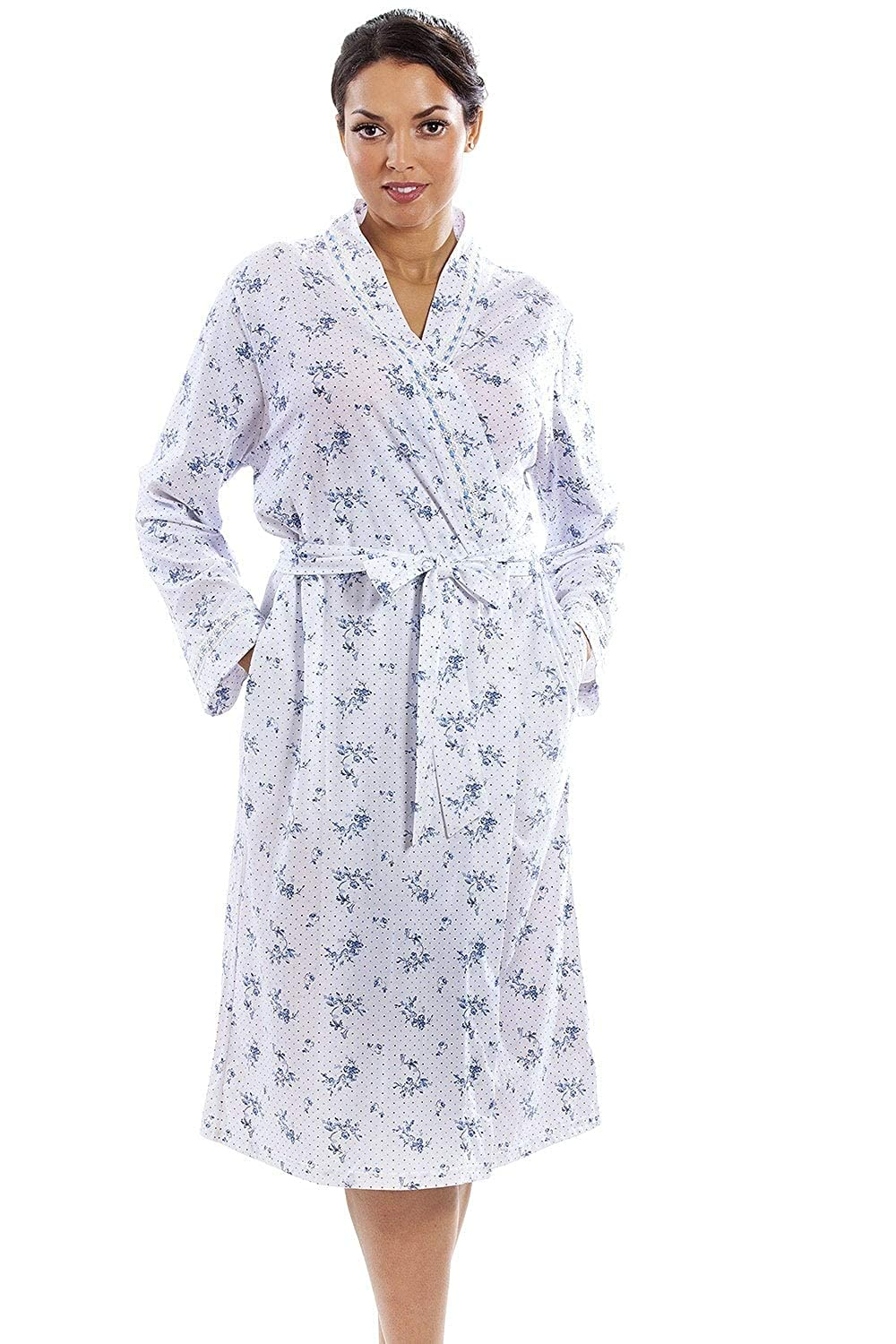 Camille Womens Porcelain Floral Wrapover Robe