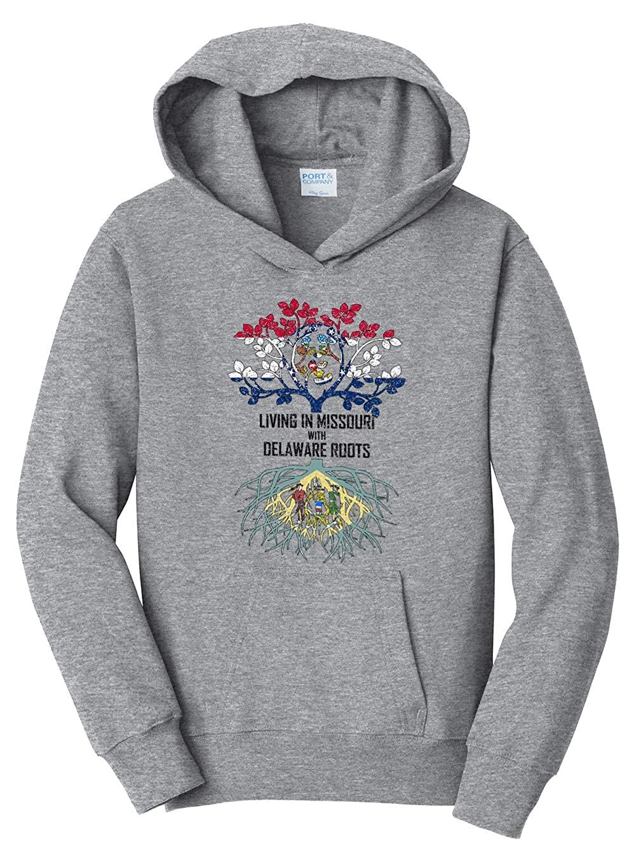 Tenacitee Girls Living in Missouri with Delaware Roots Hooded Sweatshirt