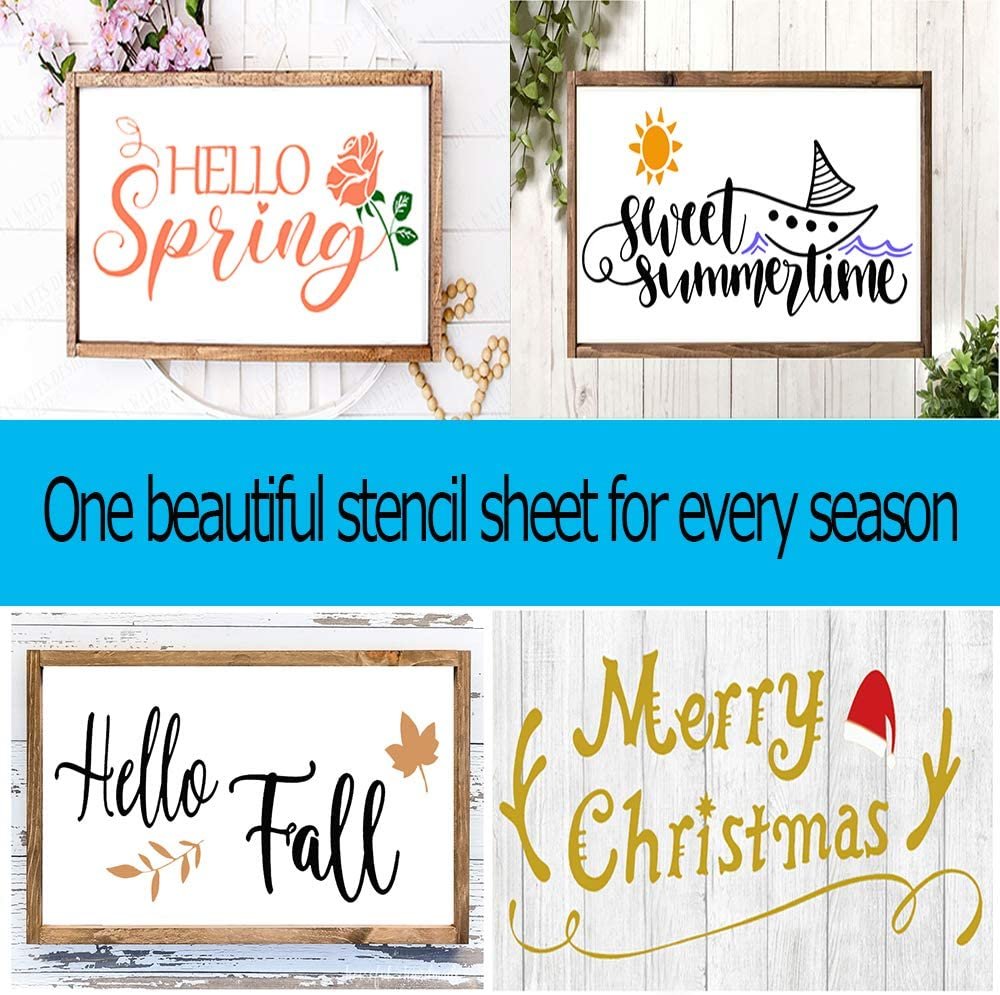 Porch or Outside Home Decor Comes with Seasonal Bonus Stencils and Sweet Home Stencils Reusable Stencils for Painting on Wood and More Easy Paint Welcome Sign Stencil for Front Door
