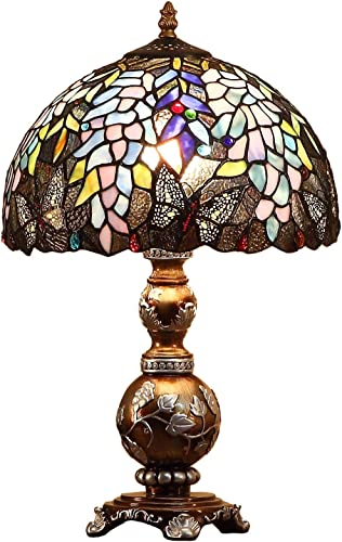 Bieye L10568 Wisteria Flowers Butterflies Tiffany Style Stained Glass Table Lamp