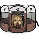 Luufan Portable Pet Playpen, Dog Puppy Playpen with 8-Panel Kennel Mesh Shade Cover Waterproof Fabric Indoor/outdoor Pet Tent Fence For Dogs and Cats(S-Brown/ 70 * 70 * 43cm)