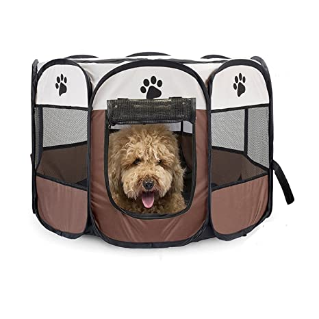 LUUFAN Portable Pet Playpen, Dog Puppy Playpen con 8 Paneles Kennel Mesh Shade Cover Tela