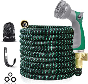 CCBETTER 100ft Garden Hose, Upgraded Leak Proof Lightweight Expandable Water Hose with 3/4'' Solid Brass Connectors& Latex Core Durable Gardening Flexible Hose with 8 Pattern Spray Hose Nozzle