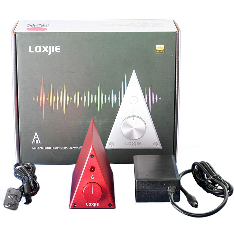LOXJIE A10 Desktop Stereo Power Amplifier Digital Class-D High-Power Audiophile Level Amp Chip TPA3116 Red