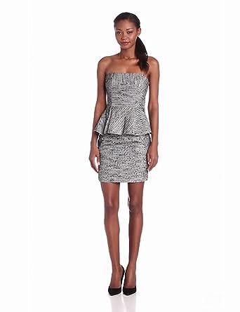 Funktional Women's Frequency Strapless Peplum Dress, Grey, Medium