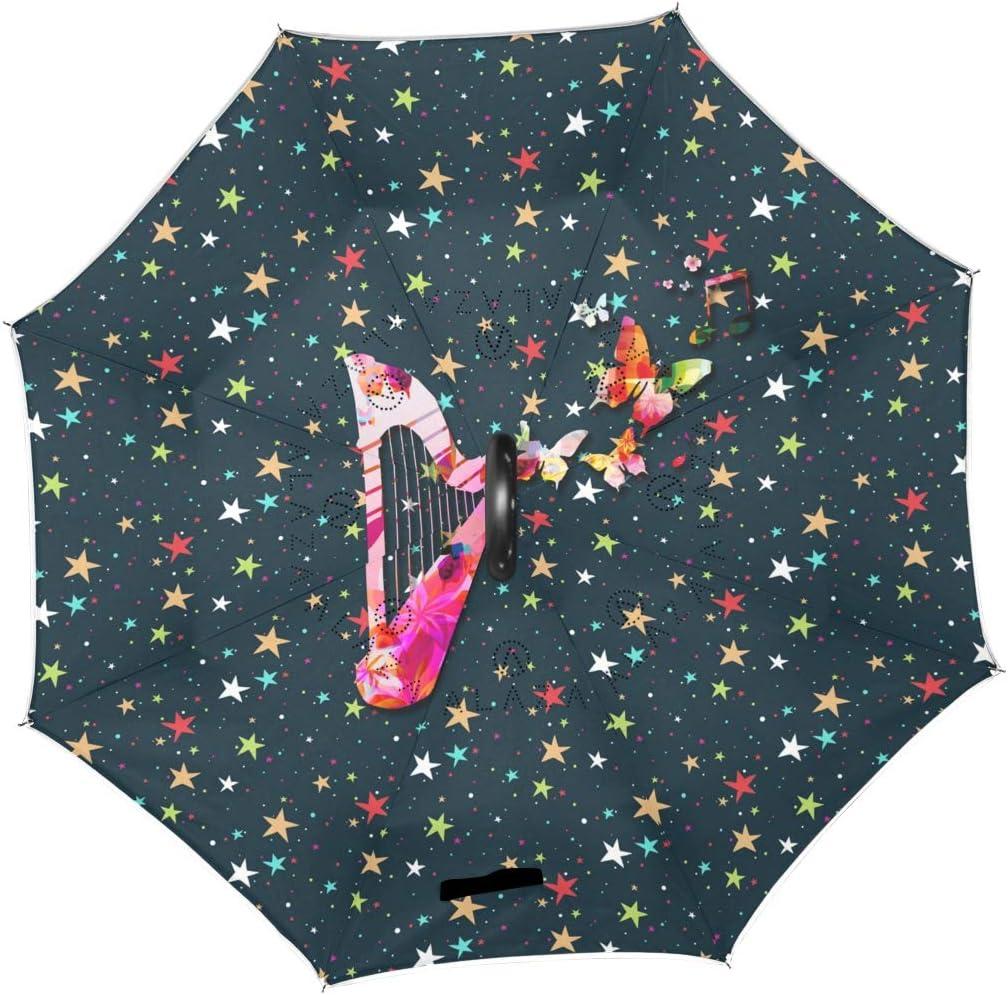 Pentacle Pagan Inverted Umbrella Double Layer Waterproof Umbrellas Outdoor Car Sun /& Rain Reversible Umbrella