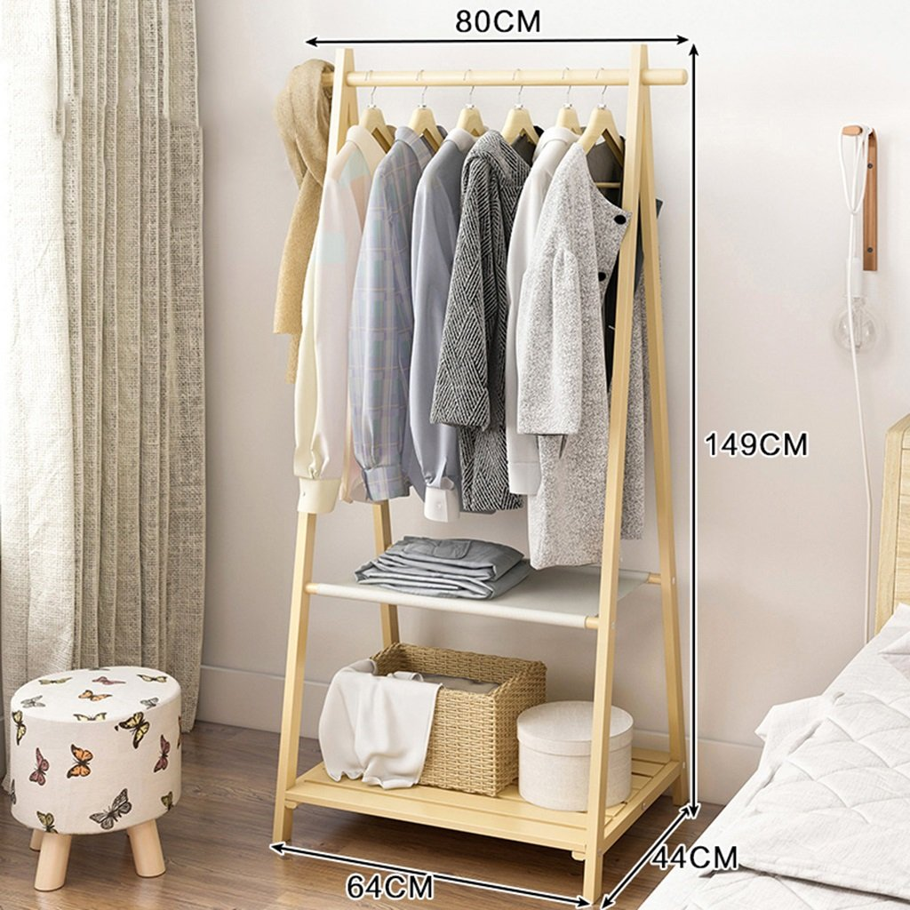 2 GJM Shop Solid Wood Two - Layers Coat Rack Floorstanding Hangers Bedroom Simple and Modern shoes Rack (color   1)