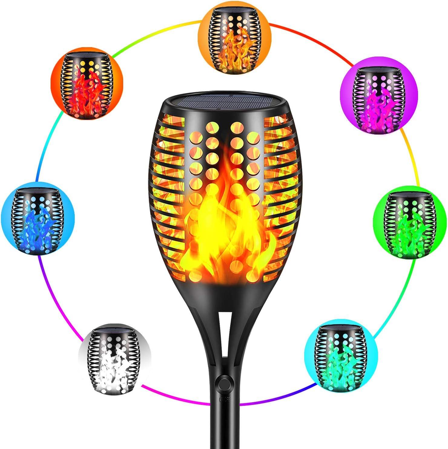 Lanterns & Torches Topmante RGB Multicolor Solar Torch Lights ...