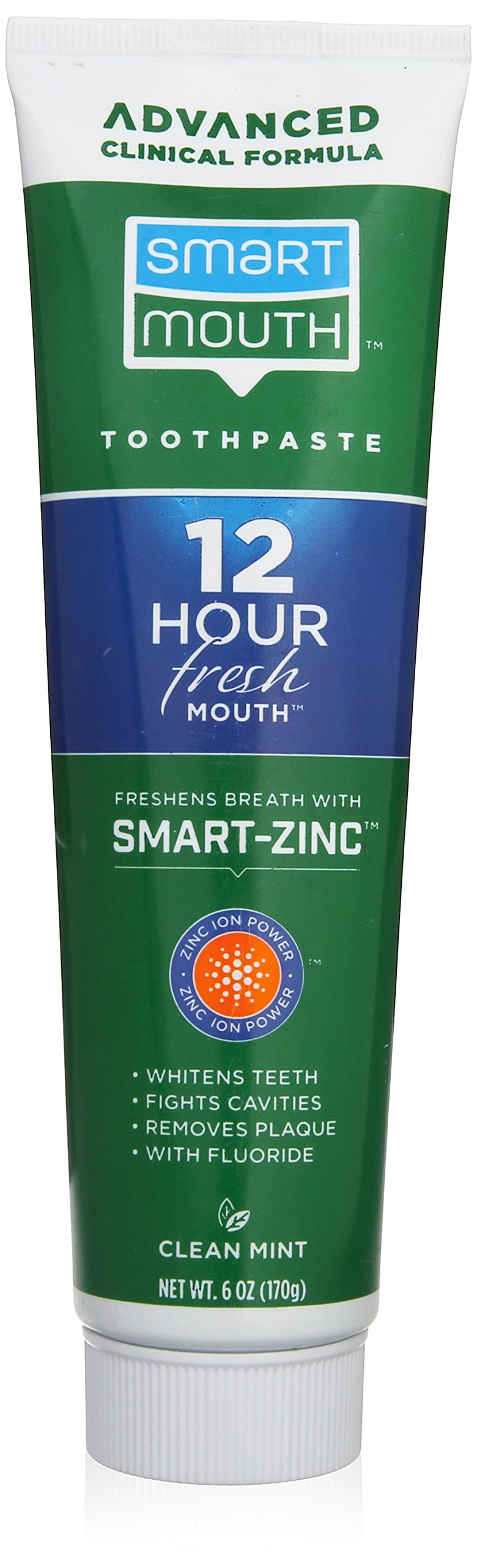 Smart Mouth Whitening Toothpaste with Fluoride Clean Mint 6 oz (Pack of 1)