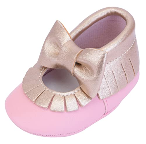e554864eb484 Cheeyi Infant Toddler Prewalker Tassel Bowknot Soft Sole Baby Girls Crib  Shoes (Gold Pink